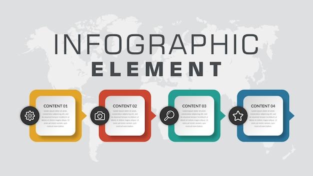 Proceso de negocio de elemento de infografía colorido de cuatro puntos