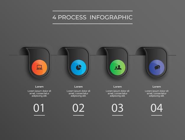 Proceso de pin 4 emergente de infografía moderna de tema oscuro vector premium
