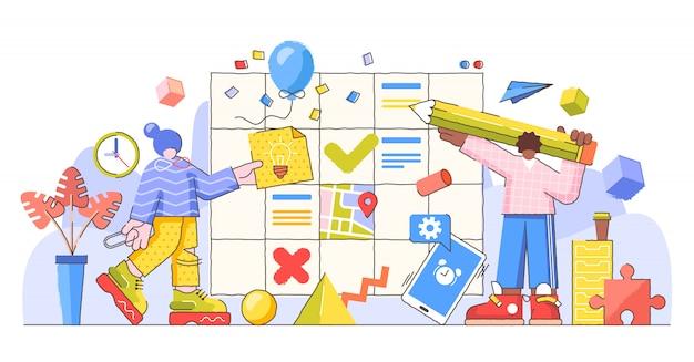 Proceso de planificación y control, ilustración creativa.