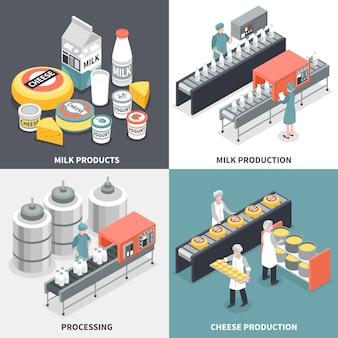 Proceso de producción de leche y queso y concepto de diseño de trabajadores de fábrica