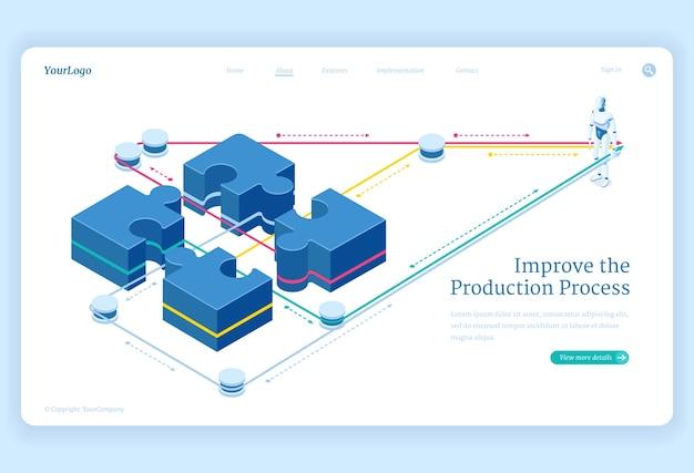 El proceso de producción mejora la página de destino isométrica, aprovecha la conexión de piezas de rompecabezas y el robot de inteligencia artificial. soluciones de trabajo en equipo, cooperación en equipo empresarial ilustración vectorial 3d,