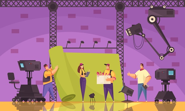 Proceso de producción de películas cinematográficas composición de dibujos animados plana con equipo de filmación en el lugar de rodaje de la escena