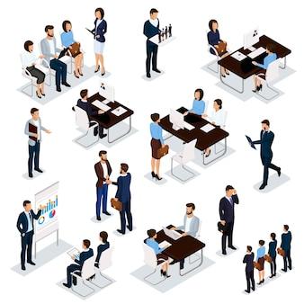 Proceso de reclutamiento para establecer empleados de negocios isométricos sobre un fondo blanco.