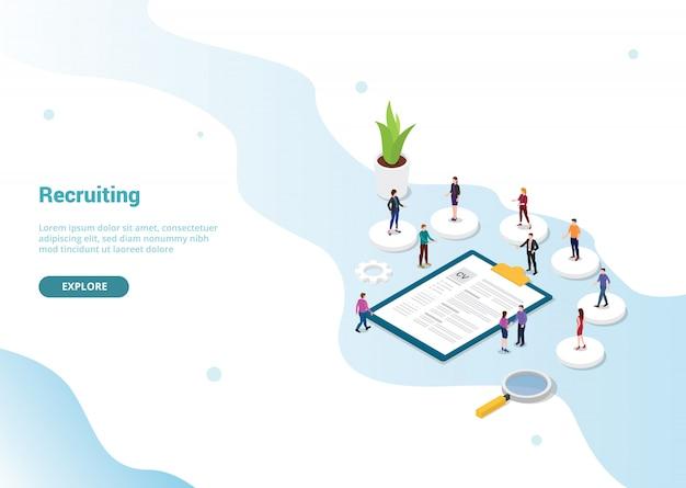 Proceso de reclutamiento o reclutamiento para la plantilla del sitio web.