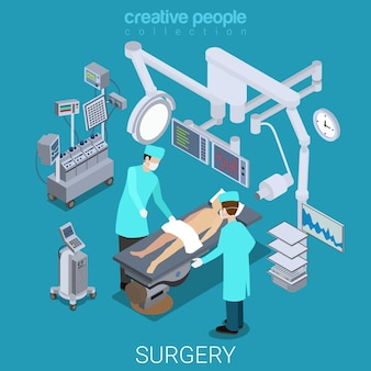 Proceso de sala de operaciones del hospital plano isométrico