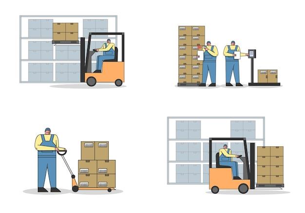 Proceso de trabajo en almacén con personal de trabajo.