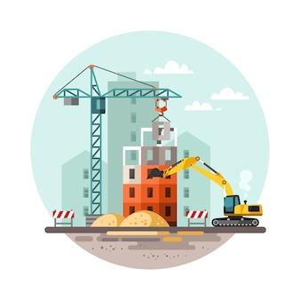 Proceso de trabajo de construcción con casas y máquinas de construcción.