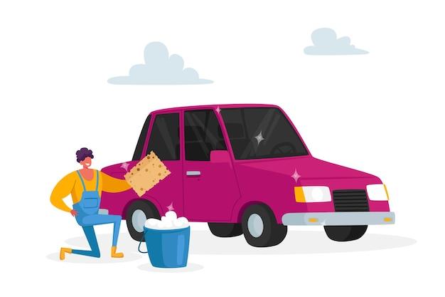 Proceso de trabajo del empleado de la empresa de limpieza, vehículo de limpieza del hombre. servicio de lavado de coches en concepto de estación automática