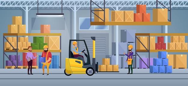Proceso de trabajo interior del almacén de distribución logística, transporte de embalaje, entrega de mercancías