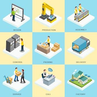 Proceso de trabajo logístico en diseño plano isométrico 3d