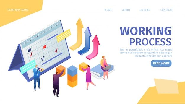 Proceso de trabajo en negocios, trabajo en equipo y estadísticas de trabajo crecientes en la plantilla de página web de aterrizaje de equipo creativo, ilustración. pequeños trabajadores juntos, construcción, logro corporativo.