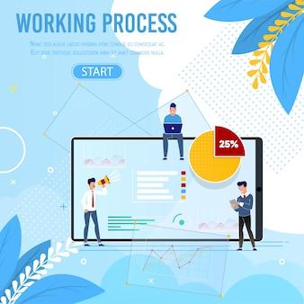 Proceso de trabajo y pancarta de personal con botón de inicio