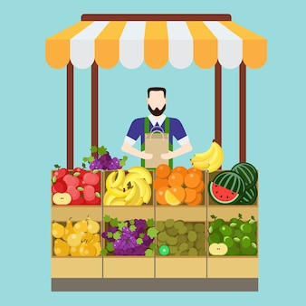 Proceso de venta del vendedor de la tienda de frutas del mercado de alimentos. objetos de trabajo de hombre relacionados con el trabajo profesional moderno de estilo plano. caja vitrina bolsa manzana plátano naranja kiwi uva pera. colección de trabajo de personas