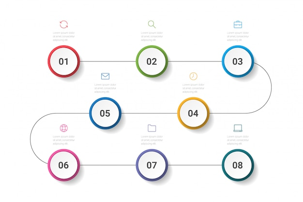 Procesos de negocio. infografía de línea de tiempo con 8 opciones, círculos. ilustración.