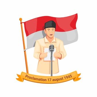 Proclamación del discurso del primer presidente de indonesia bung karno el 17 de agosto de 1945. celebración del día de la independencia en el vector de ilustración de dibujos animados aislado
