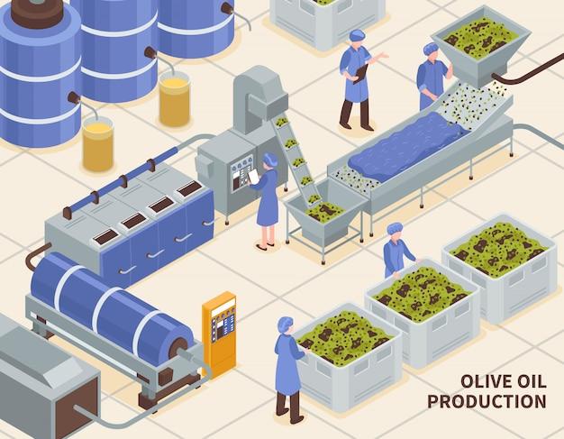 Producción de aceite de oliva isométrica vector gratuito