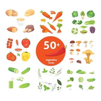 Producción agrícola, conjunto de iconos de verduras. ilustración de comida sana.