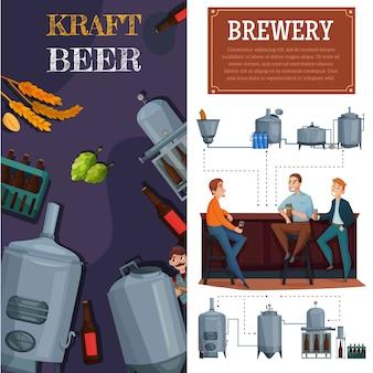 Producción de cerveza banners verticales de dibujos animados