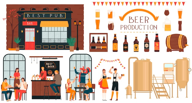 Producción de cerveza de cervecería, gente en pub, conjunto de personajes de dibujos animados en blanco, ilustración