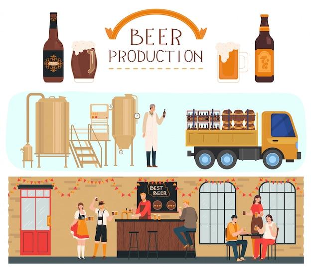 Producción de cerveza, fábrica de cerveza y bebidas alcohólicas, proceso de elaboración y bar de cerveza con ilustración de dibujos animados de personas.