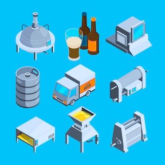 Producción de cerveza isométrica. cervecería de herramientas