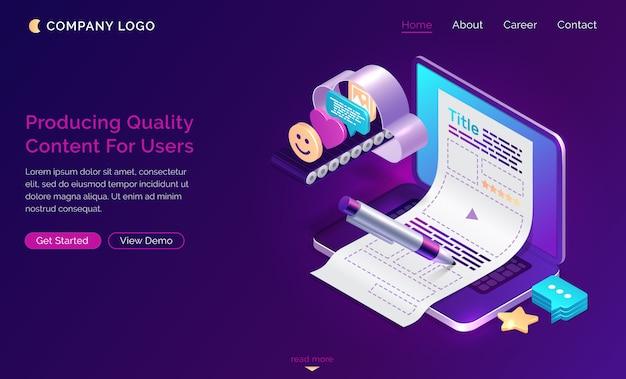 Producción de contenido de calidad para usuarios, isométrico.