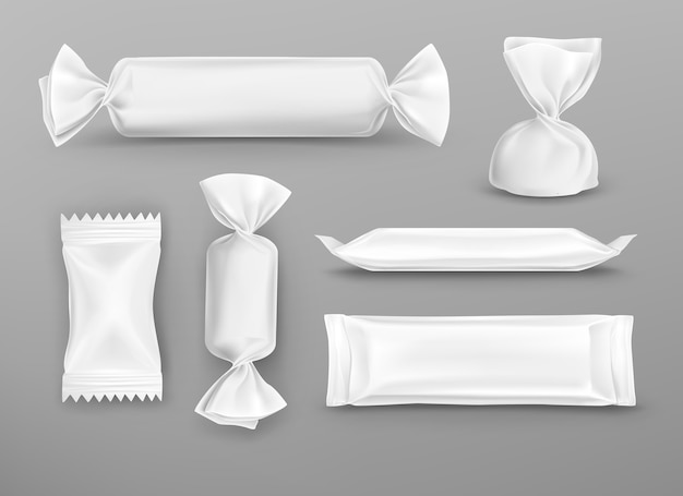 Producción de dulces de paquetes en blanco blanco