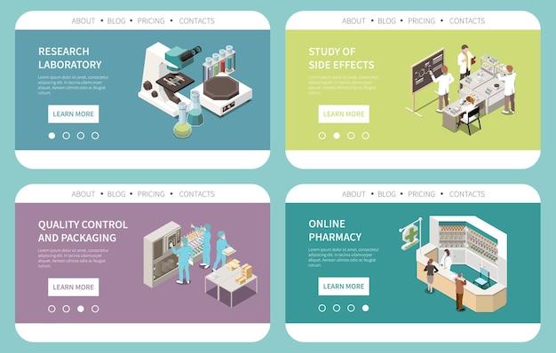 Producción farmacéutica efectos secundarios investigación de laboratorio control de calidad venta en línea tarjetas isométricas plantilla de sitio web
