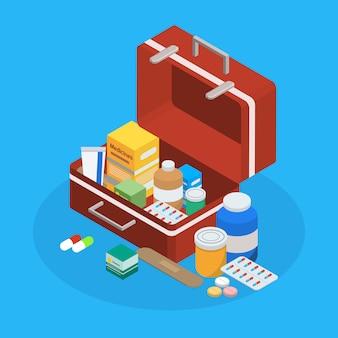 Producción farmacéutica maleta composición isométrica