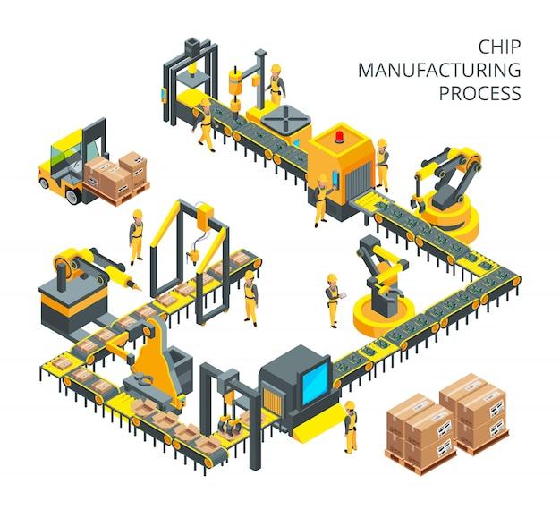 Producción industrial de piezas informáticas.