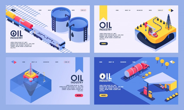 Producción isométrica de la industria petrolera con plataforma de plataforma de bombeo y página web de aterrizaje de conjunto industrial de ilustración de transporte