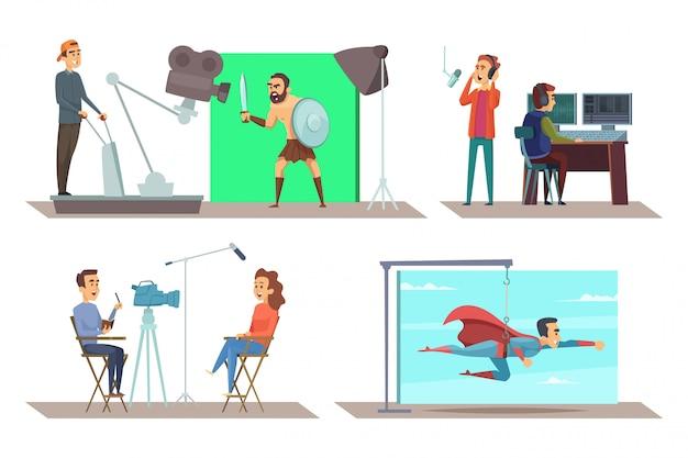 Producción de películas con actores en el set.