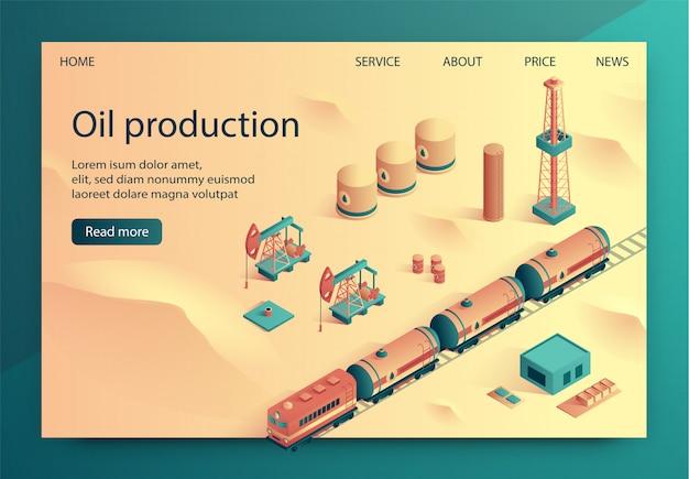 Producción de petróleo ilustración vectorial isométrica.