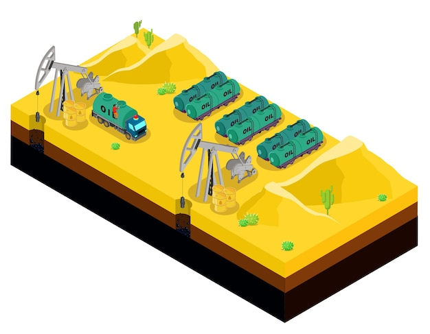 Producción de petróleo isométrica en plantilla del desierto