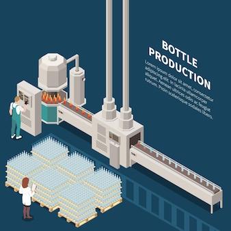 Producción de vidrio isométrica con composición.