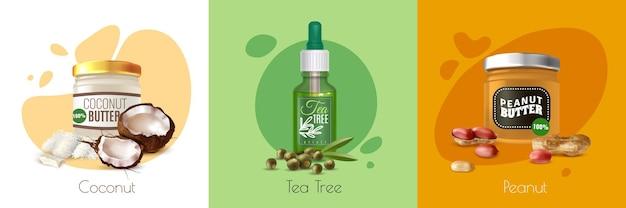 Producto de aceite realista coloreado con árbol de té de coco y botellas de aceite de maní