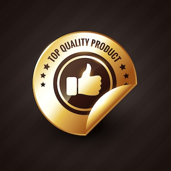 Producto de alta calidad con etiqueta dorada pulgares arriba