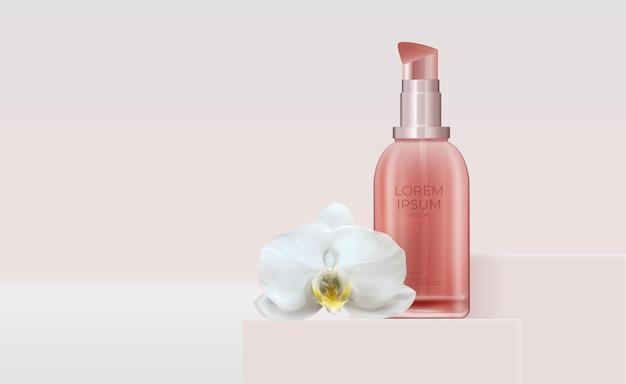 Producto cosmético de belleza natural realista 3d para el cuidado facial con flor de orquídea