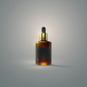 Producto cosmético de botella de esencia de suero con gotero dorado.