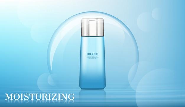 Producto cosmético en burbuja grande con bokeh difuminado.
