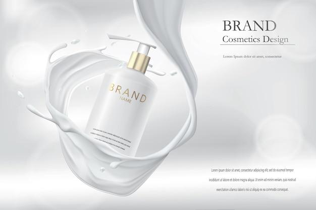 Producto cosmético. envasado de botella de crema en salpicaduras de leche.