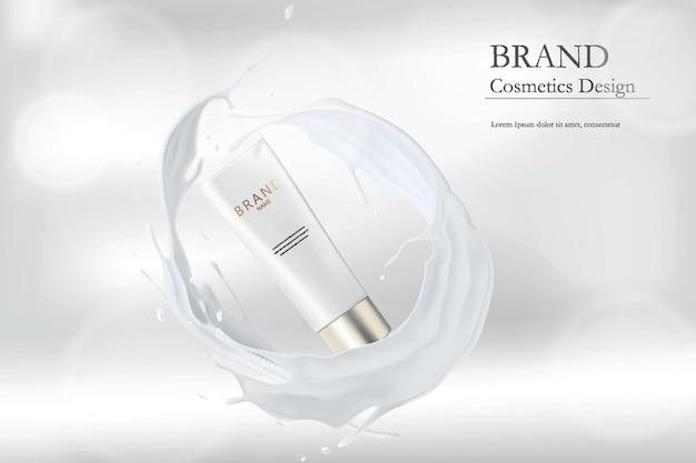 Producto cosmético. envasado de crema de salpicaduras de leche