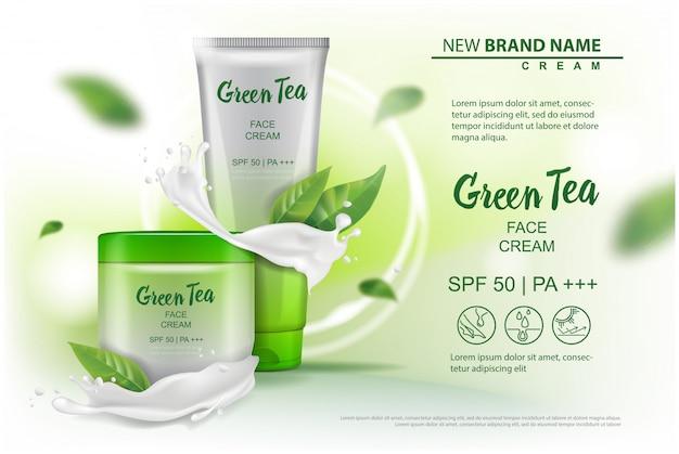 Producto cosmético con extracto de té verde publicitario para catálogo, revista. de paquete cosmético.