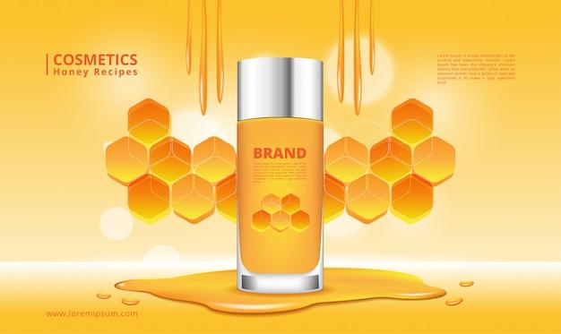 Producto cosmético de miel e ilustración de panal