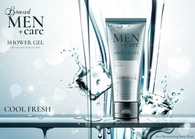Producto para el cuidado de los hombres con cubitos de hielo, agua pura que cae desde arriba