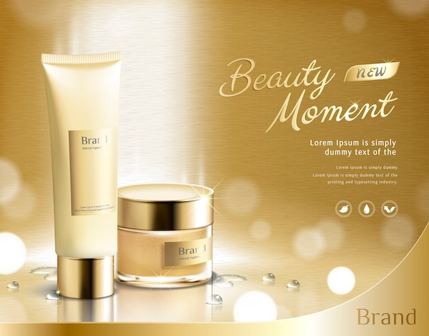 Producto de cuidado de la piel beauty momento en fondo dorado brillante en ilustración 3d, tubo de plástico y tarro de crema