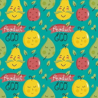Producto ecológico de patrones sin fisuras con caracteres de frutas