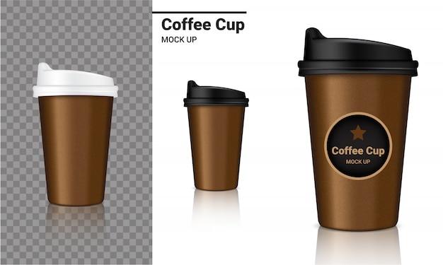 Producto de empaquetado realista de la taza de café de la maqueta