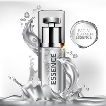 Producto hidratante cosmético con salpicaduras de agua