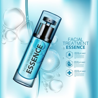 Producto hidratante cosmético con salpicaduras de agua.